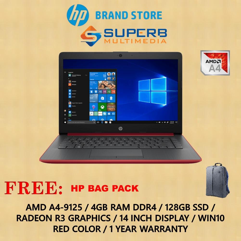 Hp Notebook 14s Dk0106au Laptop A4 4gb Ram 128gb Ssd Win10 Red Shopee Singapore