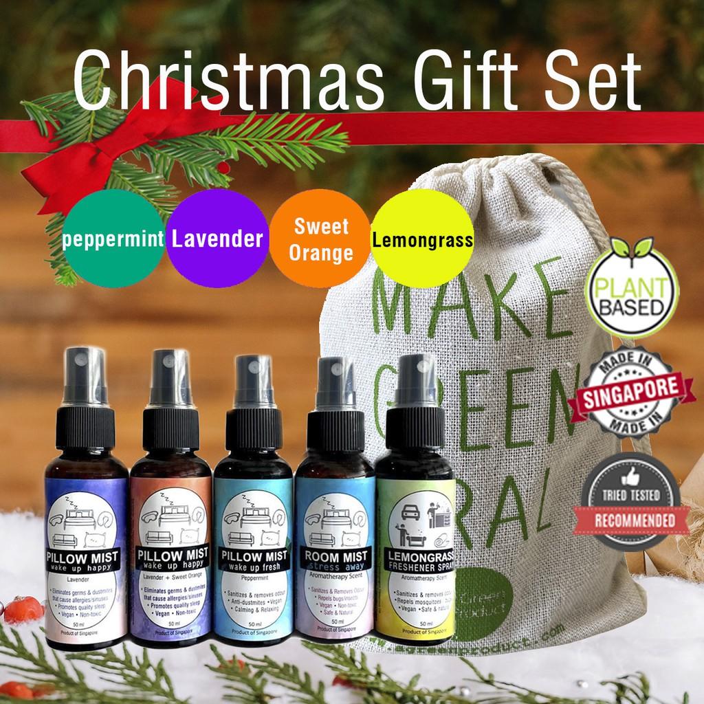Christmas Gift Box Set Natural Lavender Sweet Orange Peppermint Pillow Mists Lavender Room Mist Lemongrass Shopee Singapore