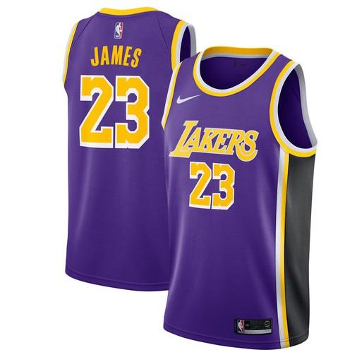 7f70917456f Nike NBA 18 19 L.A.Lakers NO.23 LeBron James Short-sleeved Shirt Jersey  Black