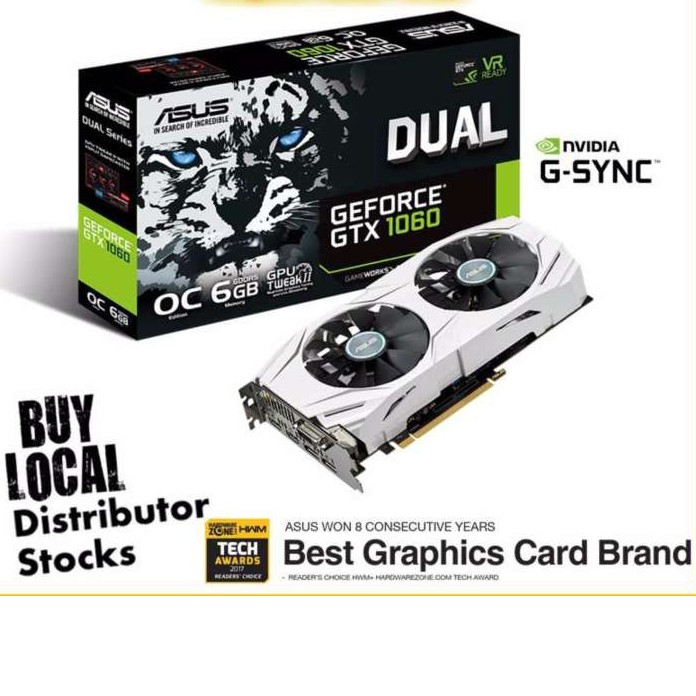 ASUS Dual GeForce GTX 1060 OC edition 6GB GDDR5 Graphics Card