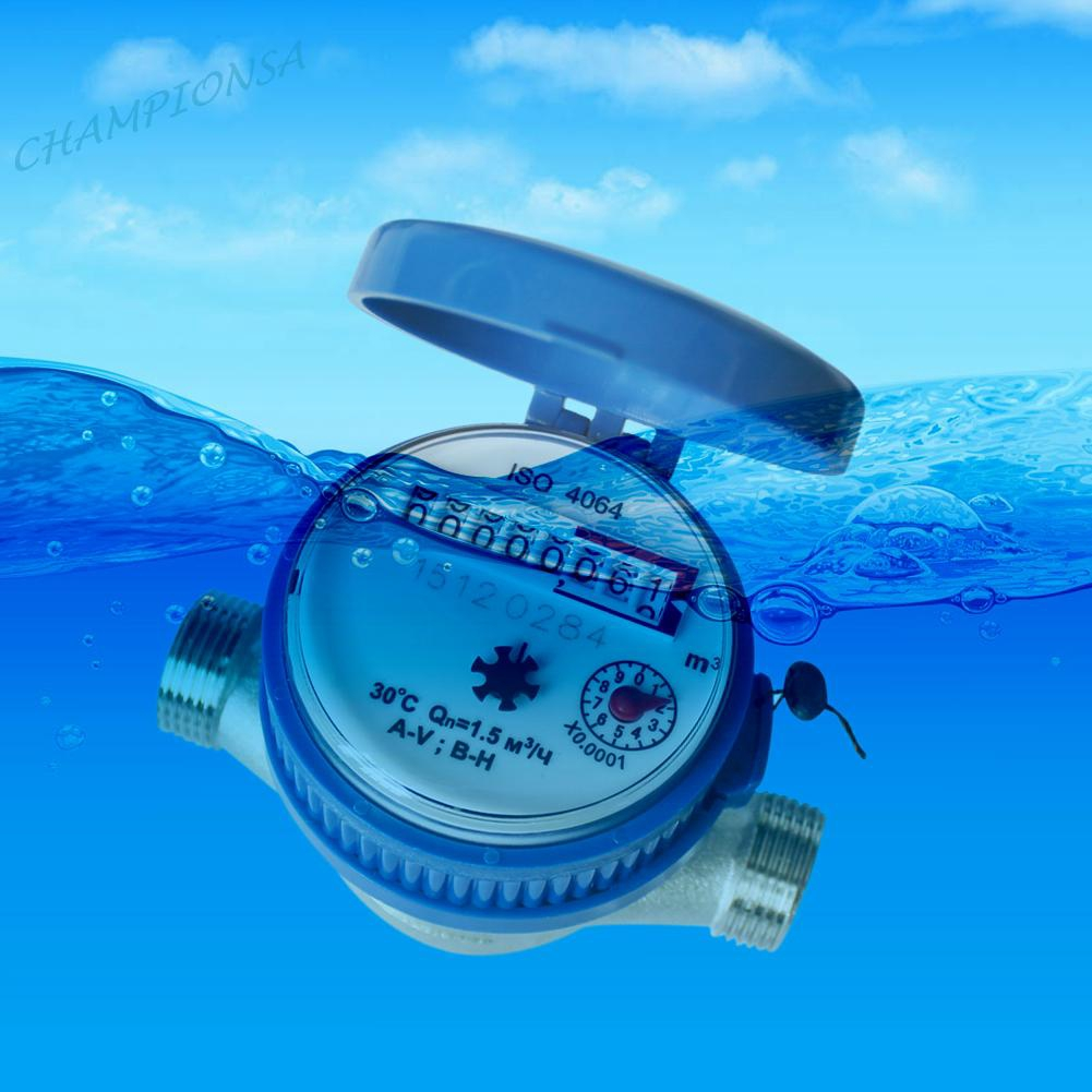 15mm 1//2 inch Cold Water Meter for Garden /& Home Using with Free Fitting Class B