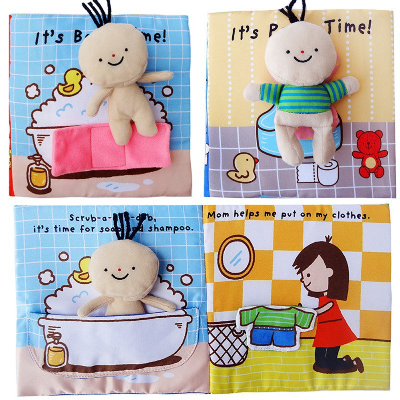Soft 3D Animal Cloth Book Cognize Development Crib Toy For Baby Kid Infant Gift