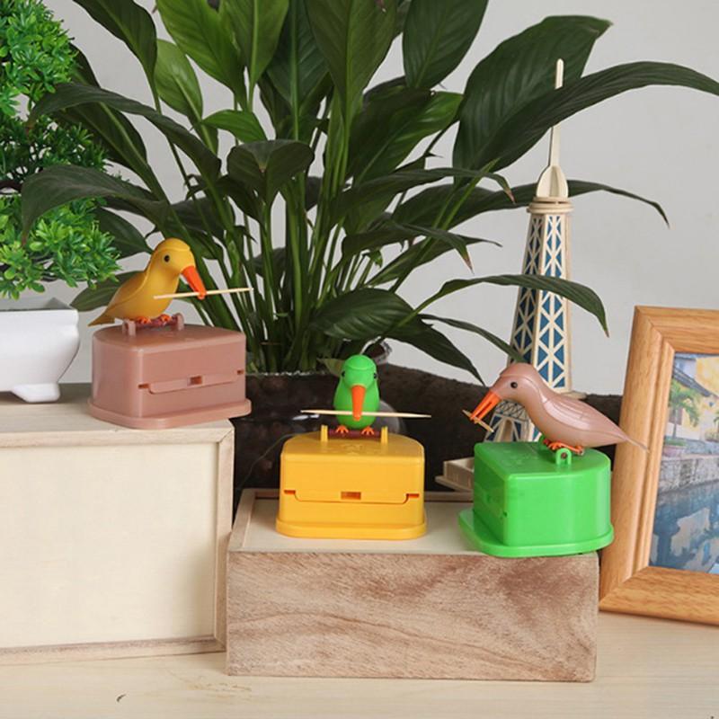 Automatic Toothpick Box Cartoon Bird Push Toothpick Holder Dispenser Container