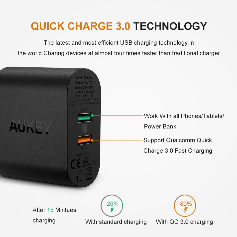 Aukey Pb P3 14w Portable Foldable Solar Charger With 2 Usb And Pa U42 Amp Wall Port Aipower Sunpower Shopee Singapore