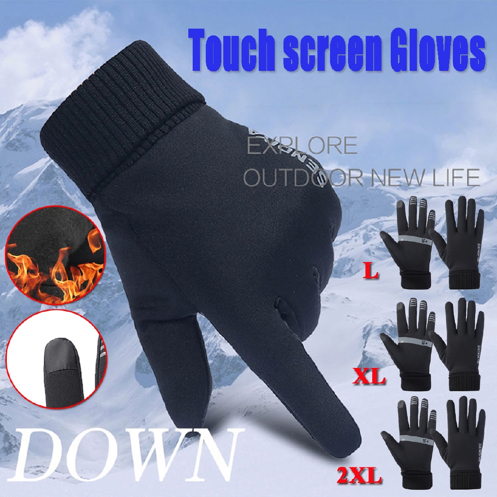 Winter Warm Fleece Lined Motorcycle Cycling Ski Gloves Touch Screen Anti-slip