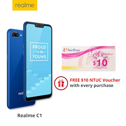 Realme C1 / 6 2 Notch Screen / 2GB+16GB / 2 yrs Warranty / Free NTUC  Voucher / Best Value for Money Smartphone