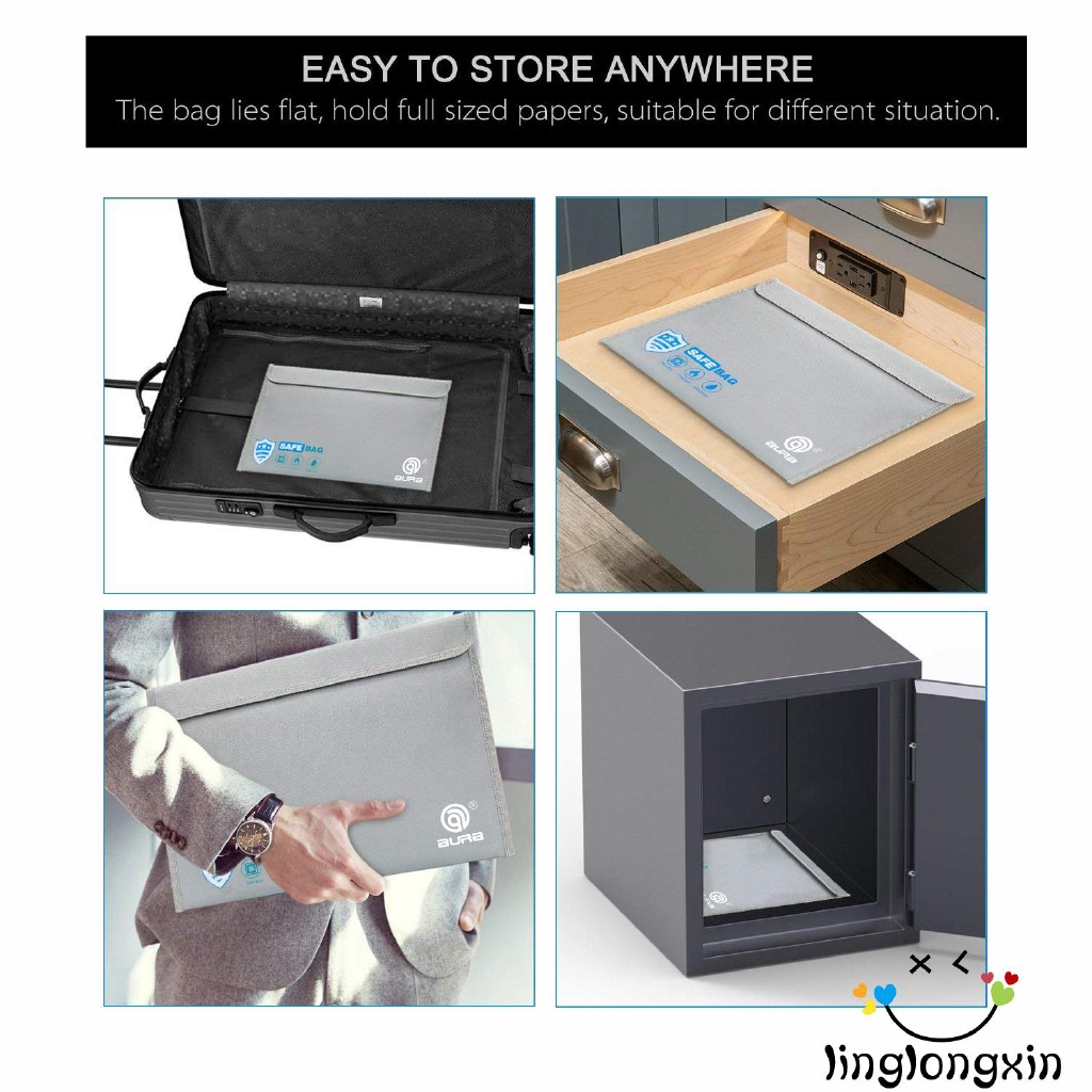 File Folder Fireproof Waterproof Bag A4 Organizer Paper Hold Document Folder