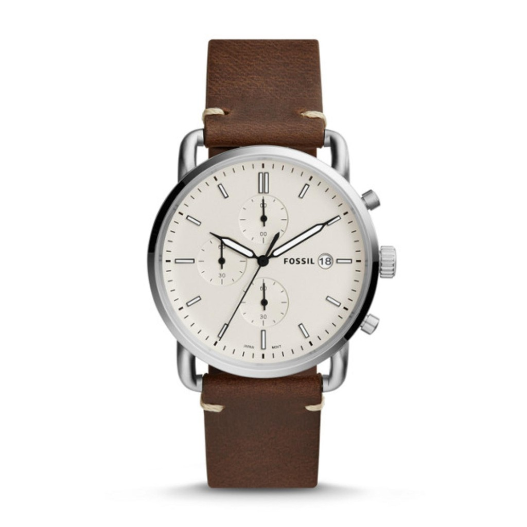 Fossil Mens Nate Chronograph Brown Leather Watch JR1424  555951692a5