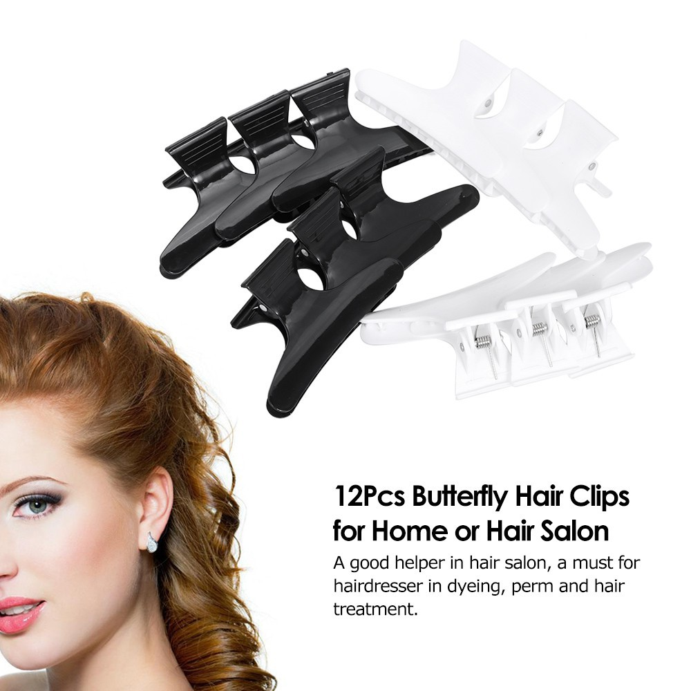 12* Hairdresser Hairdressing Butterfly Hair Claw Plastic Clip Clamp Grip-Black!!