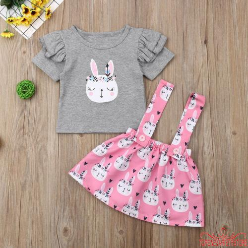 Toddler Kids Baby Girls Easter Bunny Tops T-shirt Skirt Dress Outfits Clothes