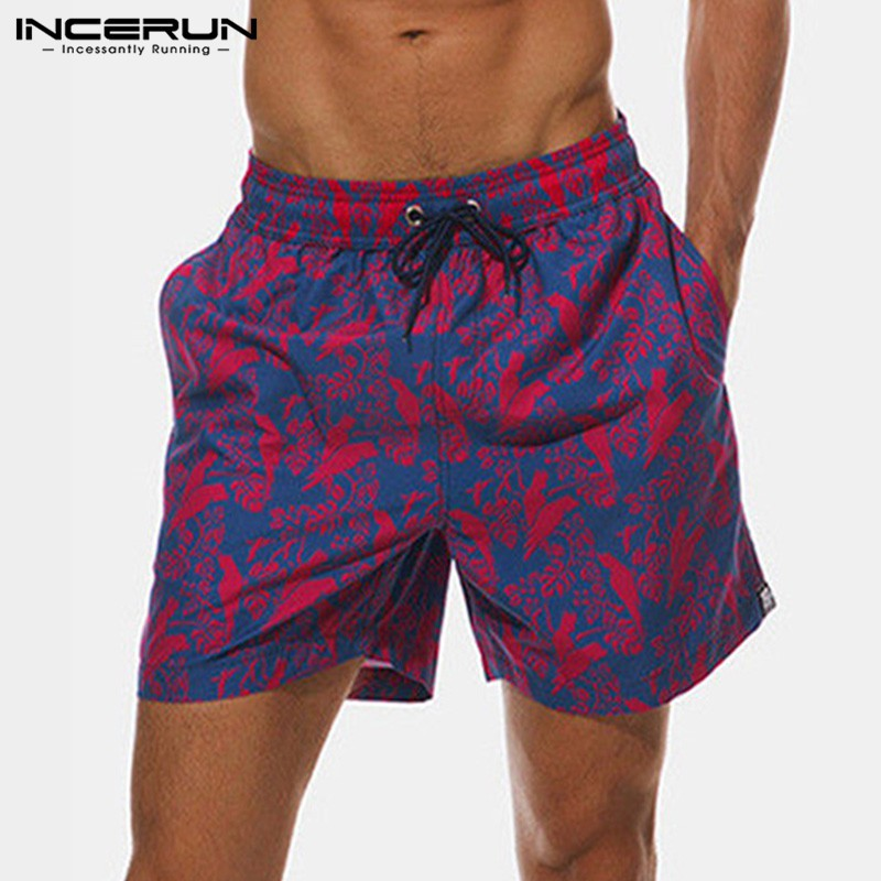 Abetteric Mens Surf Plus Size Beach Summer Print Relaxed-Fit Summer Shorts
