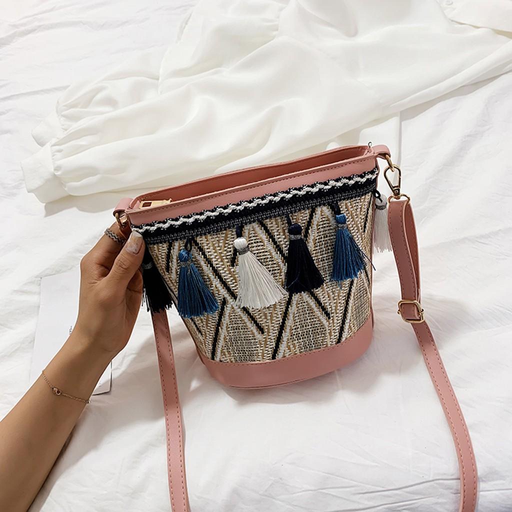 Messenger Bag Women Vintage Beach Straw Bag Ethnic Style Ribbon Tassel Beach Bag Pink One Size