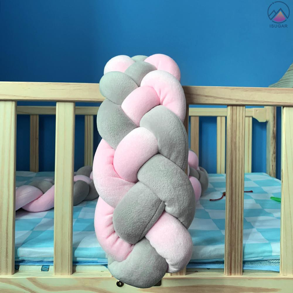 homese Baby Crib Bumper Knotted Braided Bumper Handmade Soft Knot Pillow Pad Cushion Nursery Cradle Decor Gift Crib Protector Cotton 3 Meters 3 Strands with Mixing Color 118.1 Inch