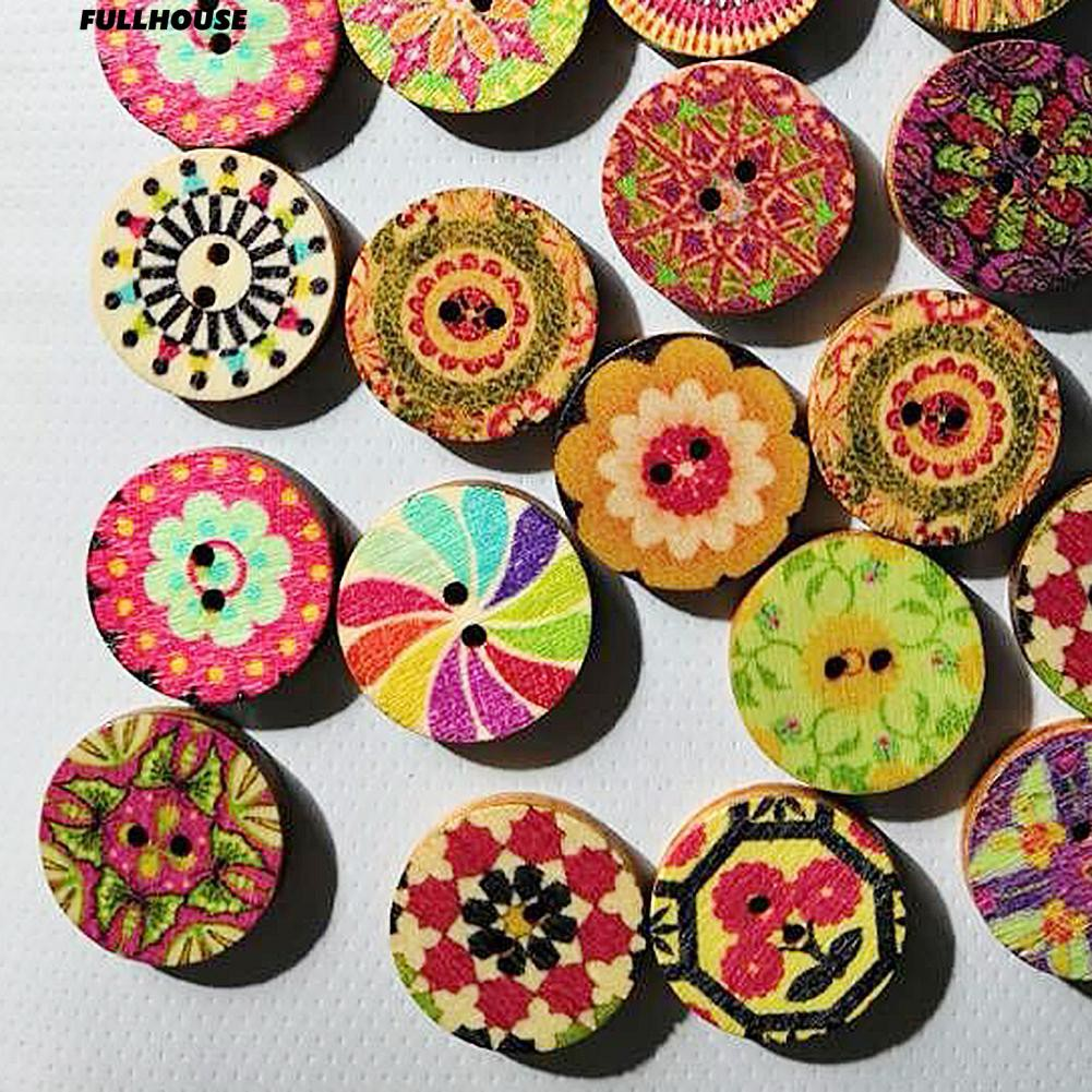 EG/_ 100X Candy Colorful Flower Flatback Wooden Buttons Sewing Craft Scrapbooking