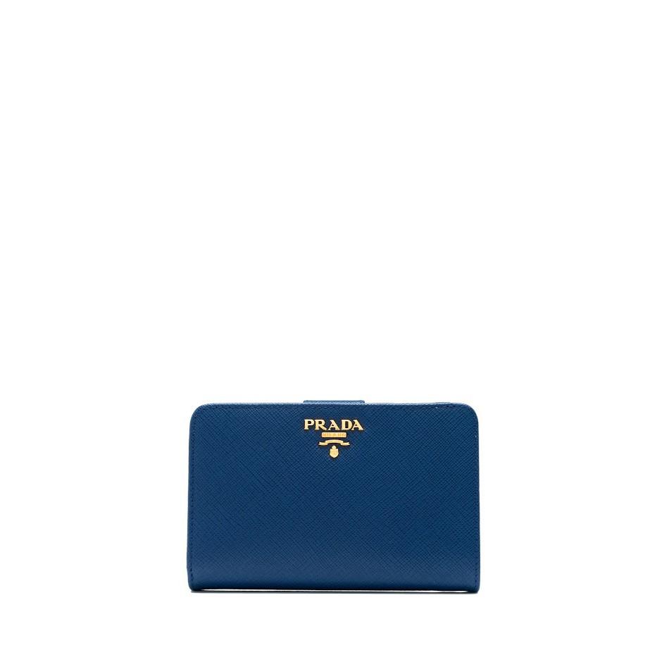 508fec8ccd95f Prada Saffiano Metal French Flap Wallet (Bluette)
