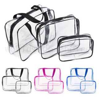 139f21017f Set of 3Pcs Cosmetic Makeup Toiletry Clear PVC Travel Wash Bag Holder Pouch  Kit