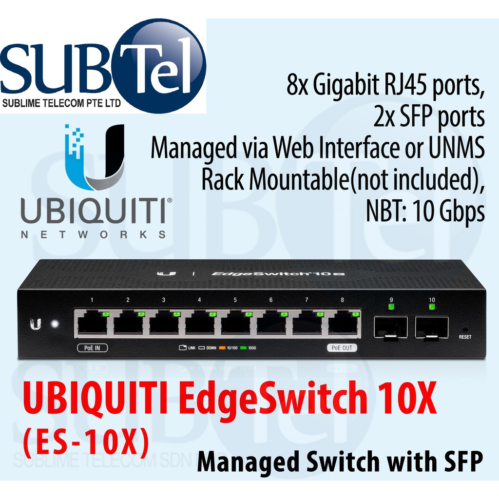 ES-10X Ubiquiti Networks EdgeSwitch 10 Ports Switch Non PoE Version Of  ES-10XP UBNT Singapore