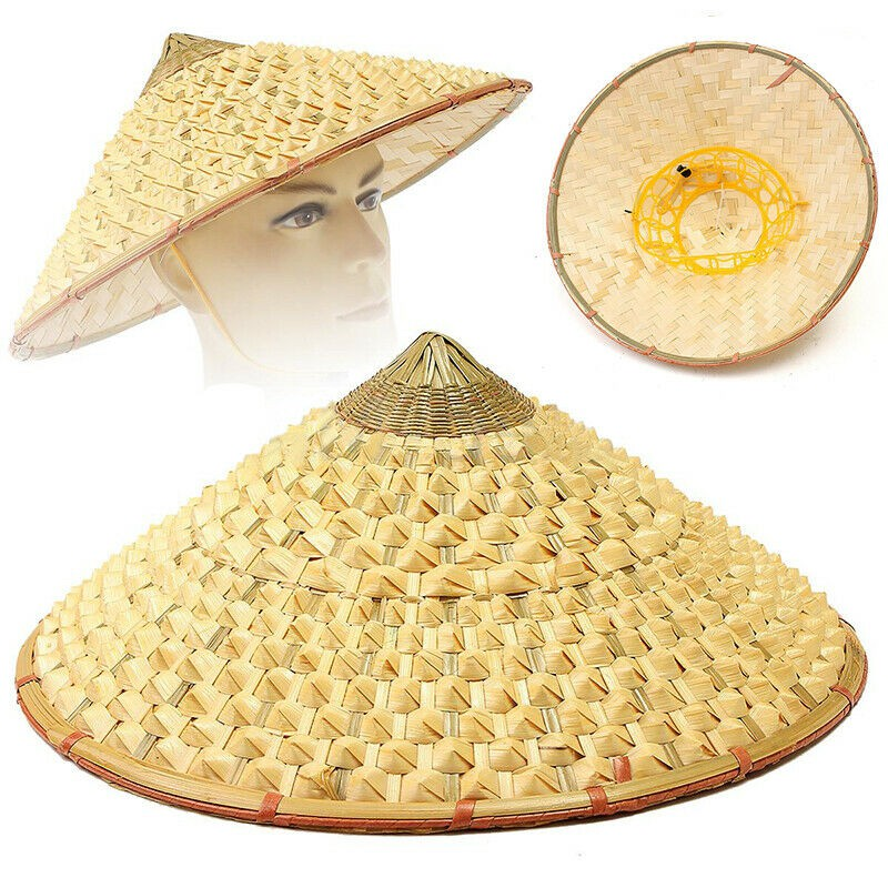 Chinese Oriental Vietnamese Coolie Straw Bamboo Sun Farmer Fishing Rice Hats Re