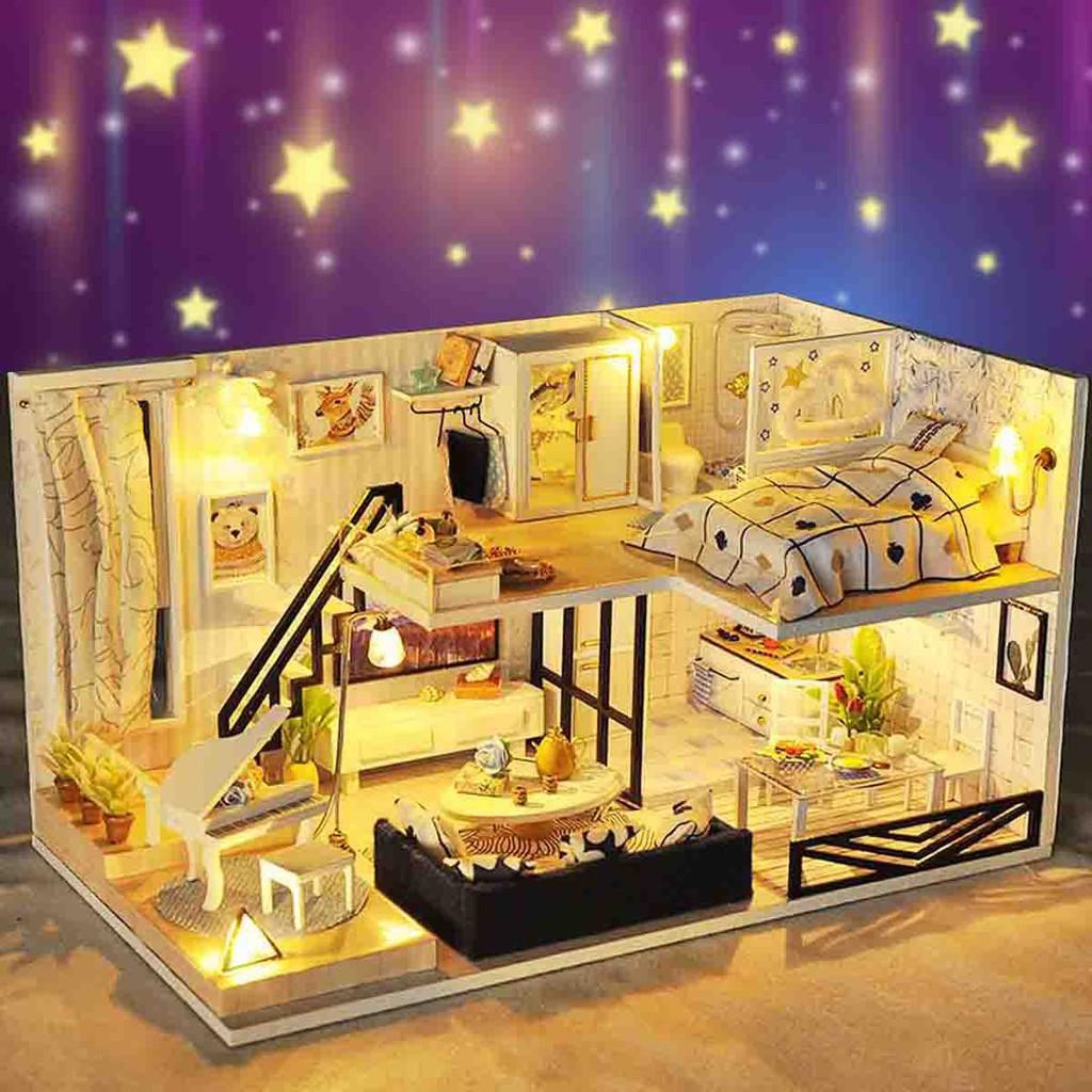 Loft Apartments Dollhouse Miniature Kit Furniture LED Light Gifts DIY Wooden