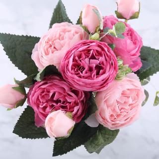 30cm Rose Pink Silk Peony Artificial Flowers Bouquet 5 Big Head And 4 Bud Cheap Fake Flowers For Home Wedding Decoration Shopee Singapore