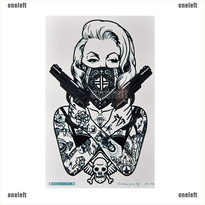 Oneleft Waterproof Girl With Guns Temporary Tattoo Large Arm Body Art Tattoos Sticker Shopee Singapore