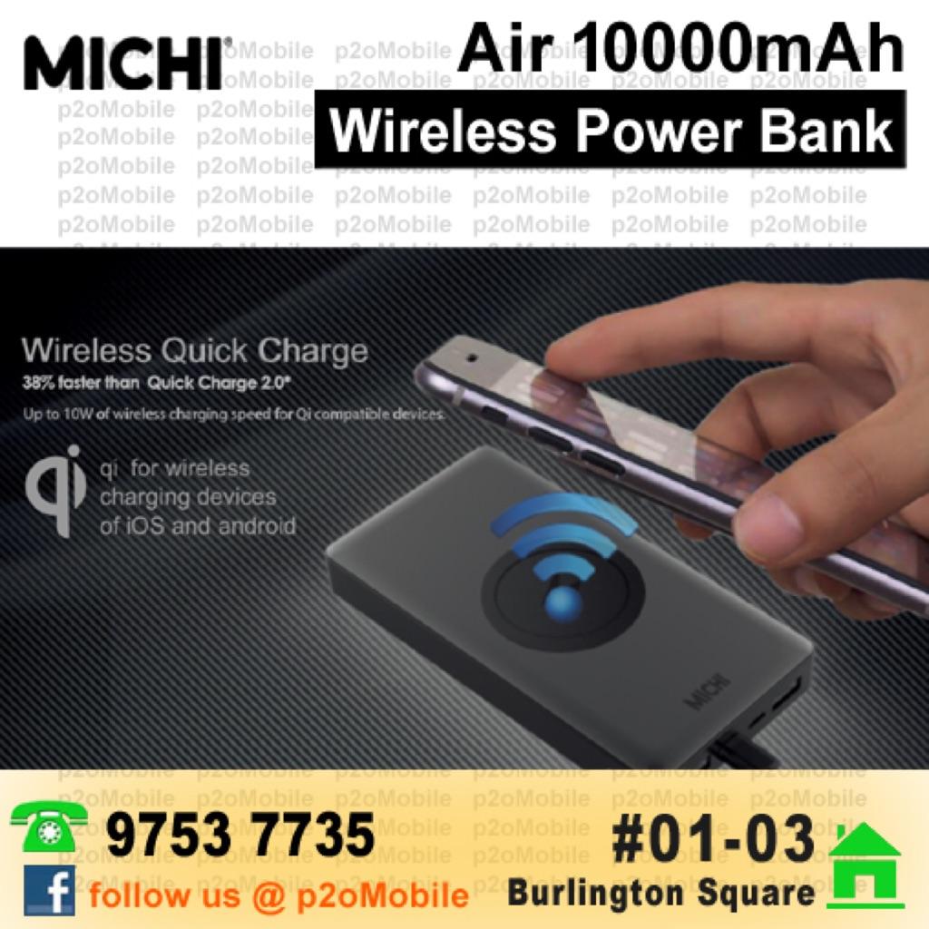 Qi Wireless Portable Power Bank Charger 10000mah Shopee Singapore