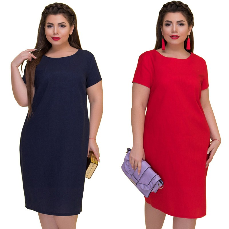 0a6ab84386 Casual Dress Plus size women's solid color round neck long sleeve dress |  Shopee Singapore
