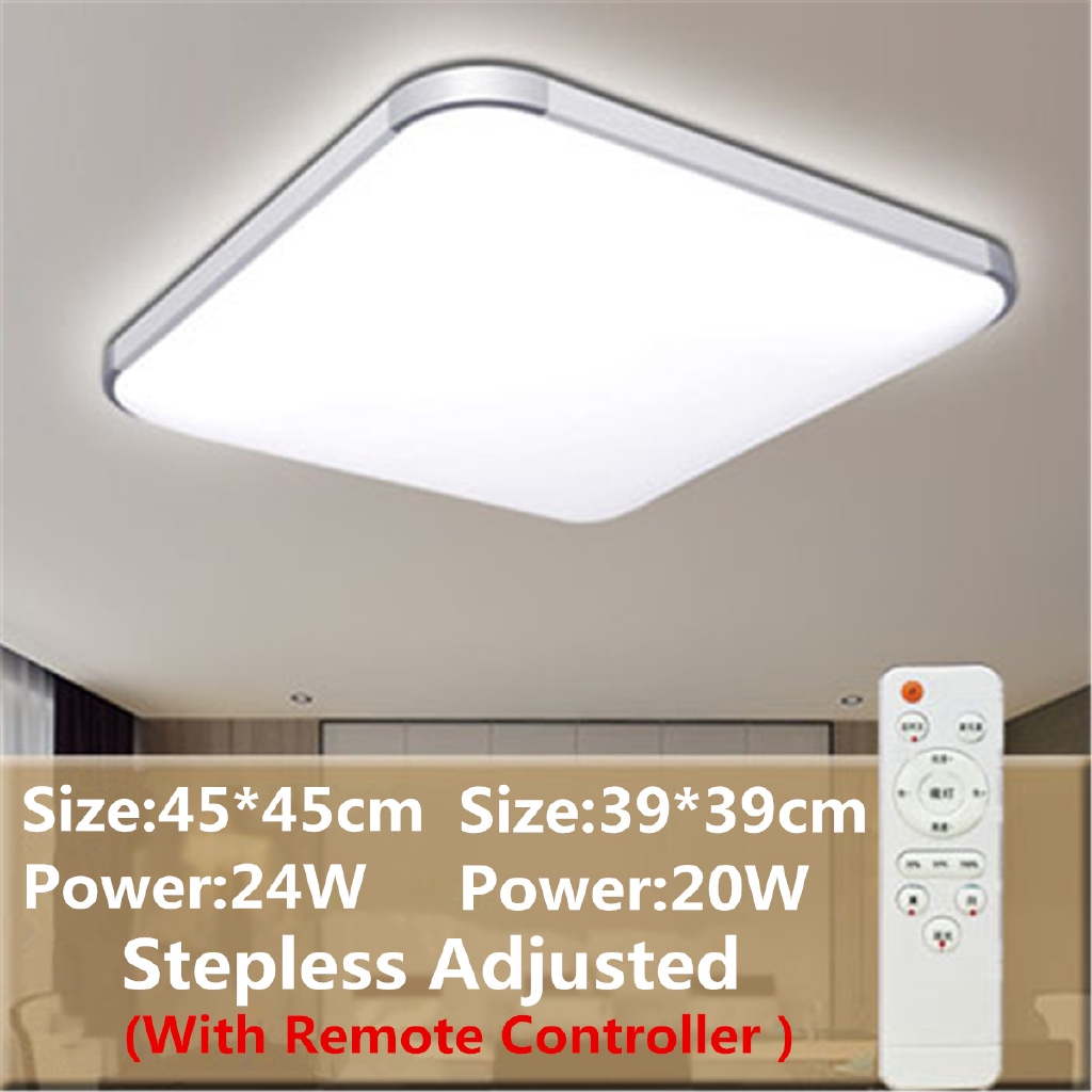 Led Modern Flush Mount Ceiling Light Bedroom Lamp Home Fixture With Remote 24w Shopee Singapore