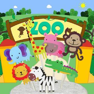 12 SHEETS WILD ANIMAL STICKERS Kids Party Cake Bag Filler Loot Toys Boy Girl 802