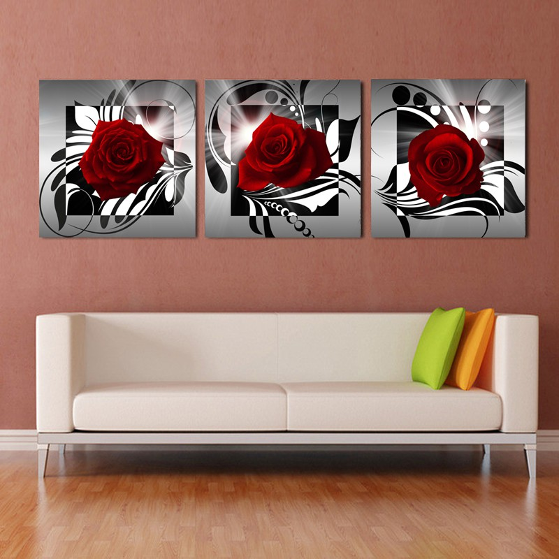 Modern Canvas Painting Red Rose Wall Paintings Living Room Home