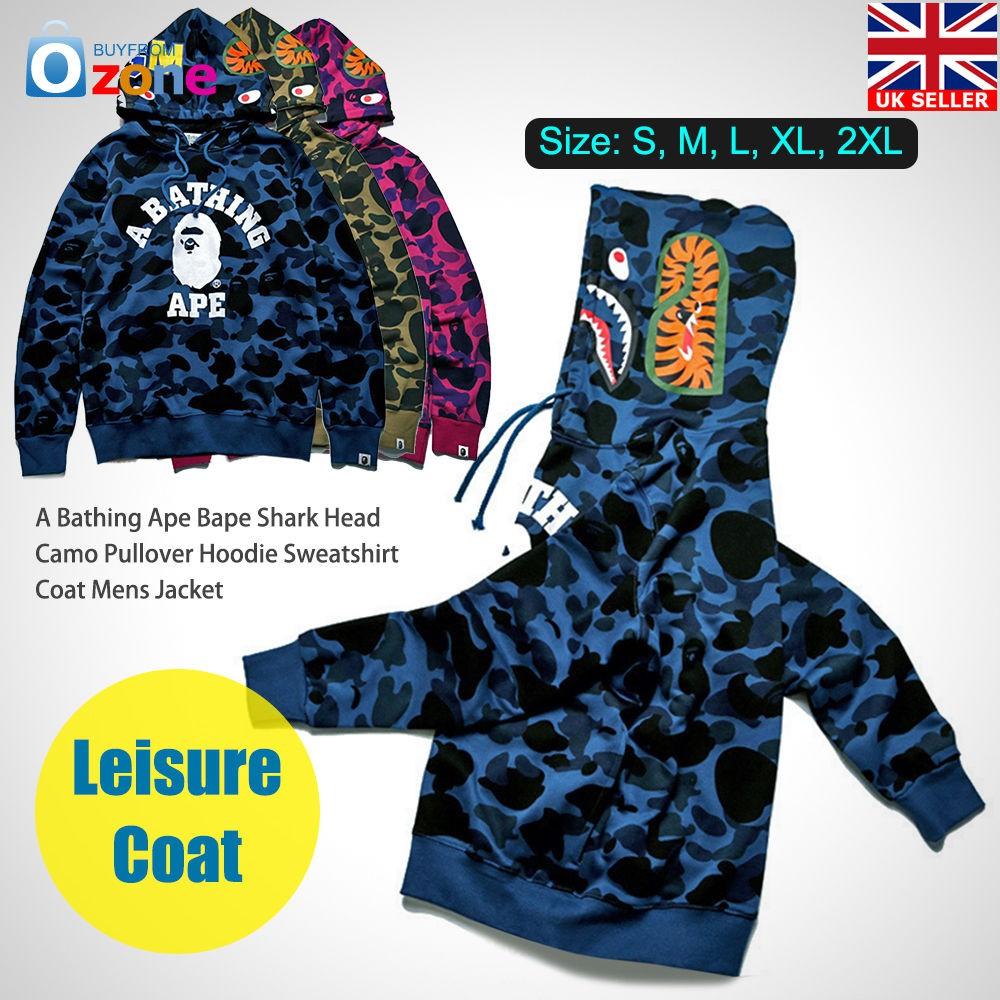 ec1a8ef78314 A Bathing Ape Hoodie Bape Shark Head Camo Pullover Sweatshirt Coat Men s  Jacket