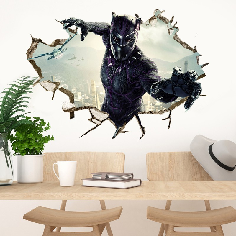 3D Wall-penetrating Avengers Black Panther Background Wall