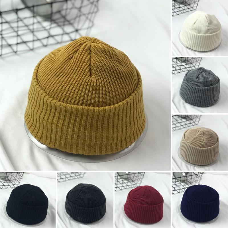 d6f7ed1dc0b Men Knitted Hat Beanie Skullcap Sailor Cap Cuff Brimless Retro Fashion Cap  New