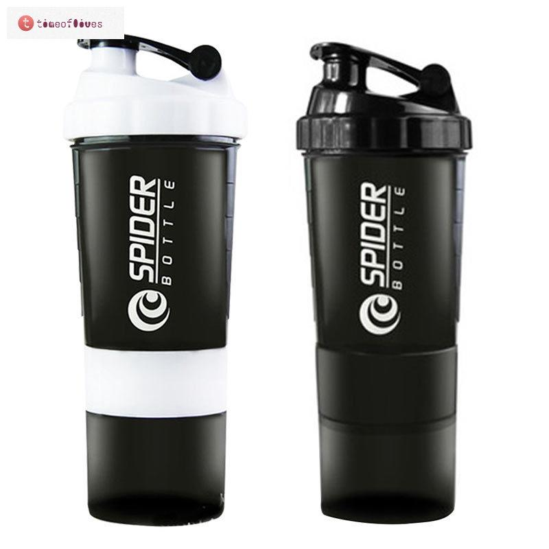 TF▶ 500ml Removable Three Protein Powder Shaker Cups Sports Cup Spider  Water Bot