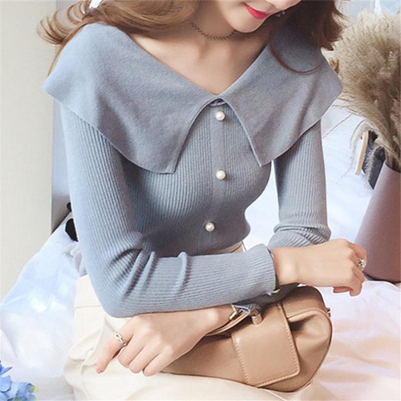 Women Tops Pullovers Autumn V Neck Long Sleeve Korean Sweater Knitted Blouse