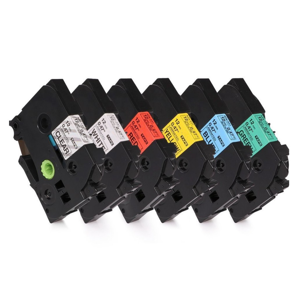 6 Colors TZe-231 431 531 631 731 Compatible Label Tape for Brother P-Touch 12mm