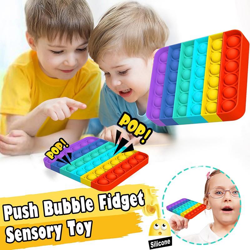 Push Pop Bubble Fidget Kids Sensory Foxmind Pop It Colourful Unicorn Rainbow Shrimp Crab Dinosaur Fidget Toys