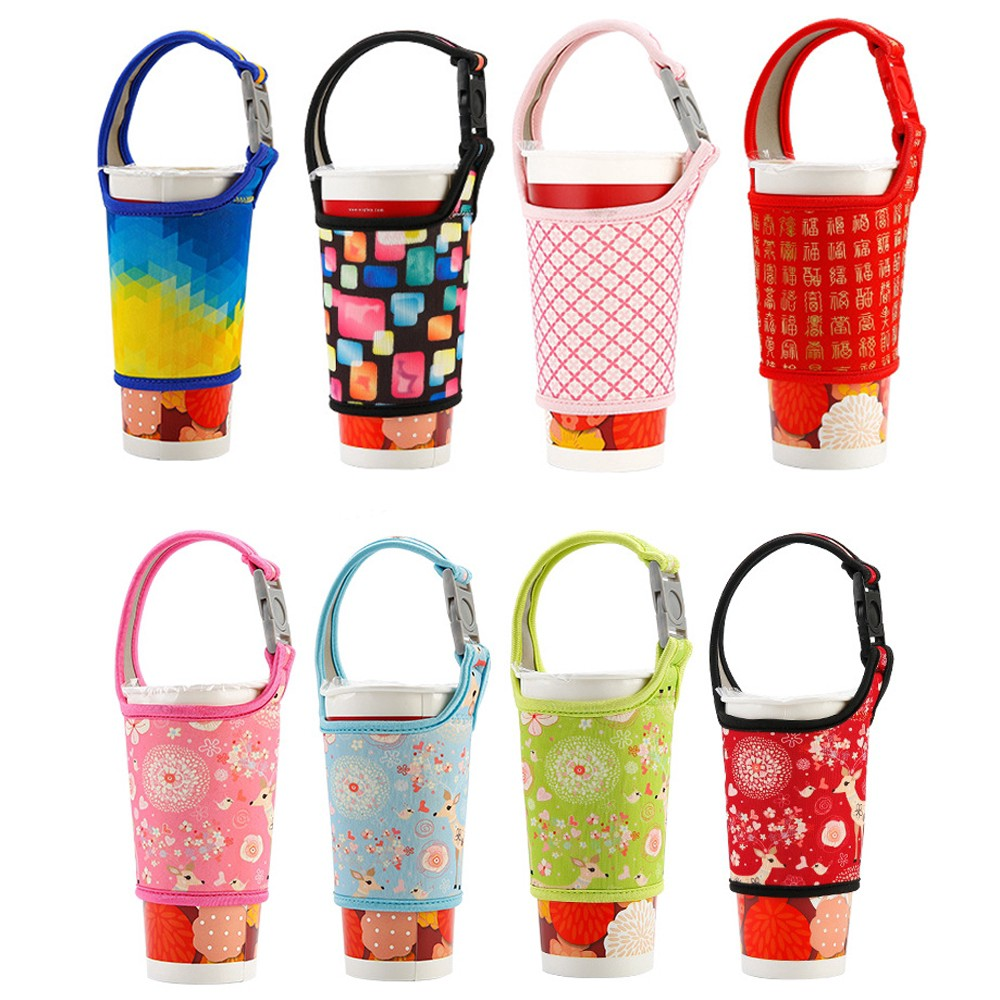 Insulated Handheld Travel Mug Sleeve Cover Reusable Coffee Cup Bottle Bags LIN
