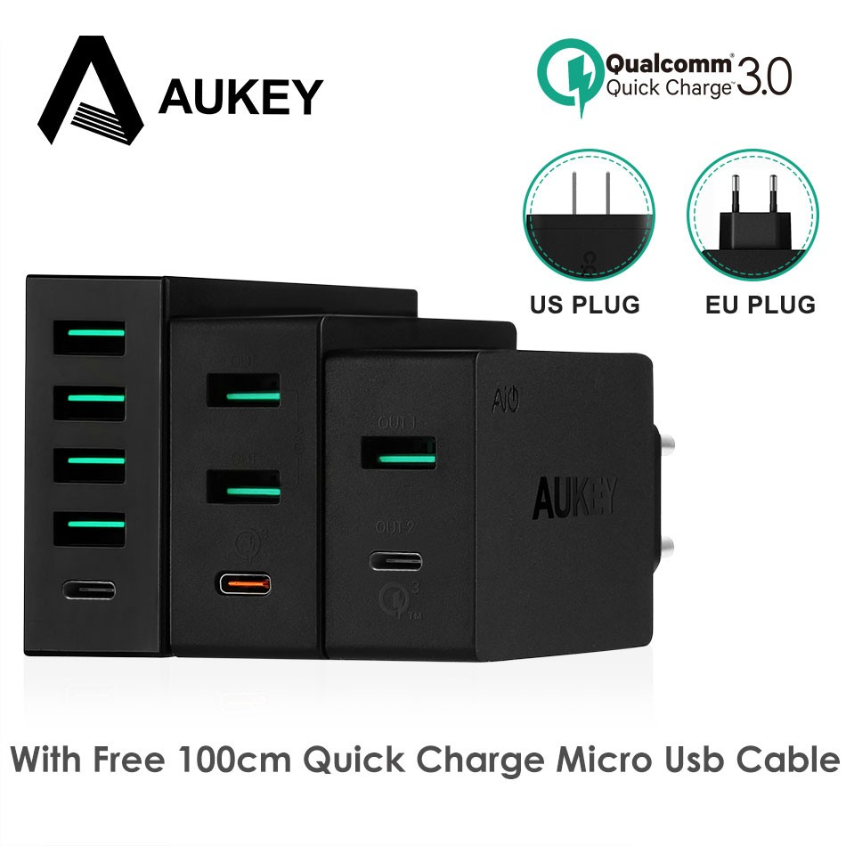 Aukey Pa Y4 Mobile Phone Charger Type C Quick Charge 30 Usb U42 Amp Wall 2 Port Aipower Desktop Shopee Singapore