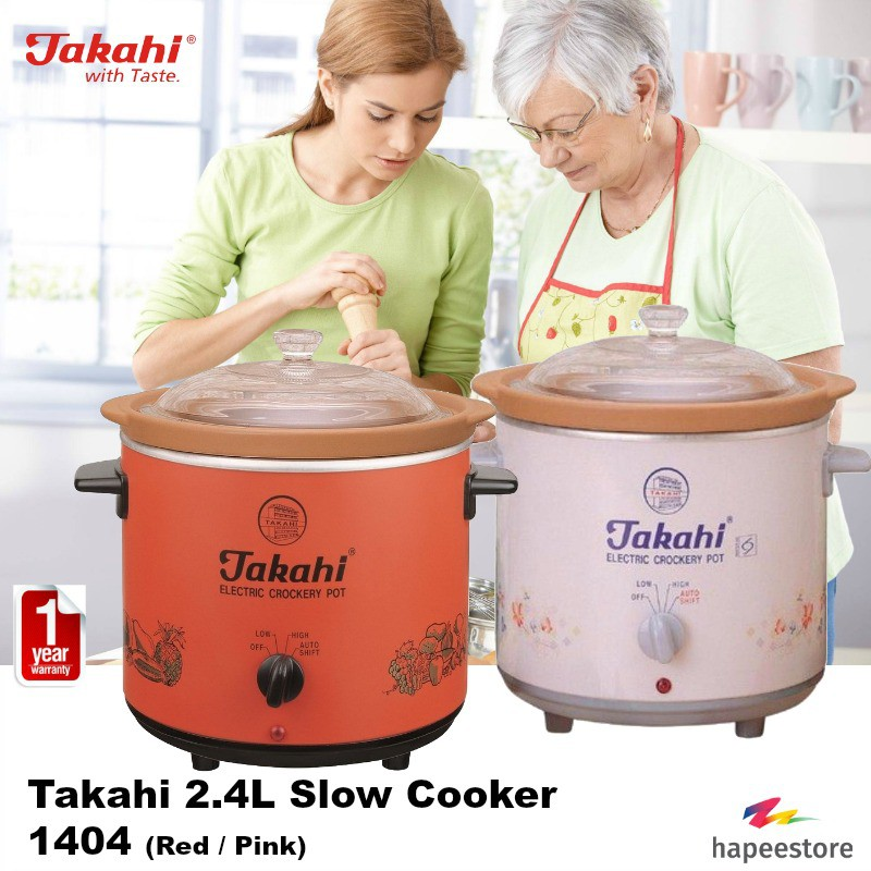 Takahi 2.4L Slow Cooker - 1404 (Available in Red / Pink) (1 Year Warranty) | Shopee Singapore