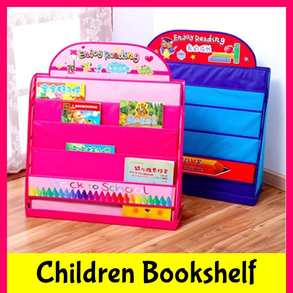 Children Kids Cartoon Bookshelf Book Display Shelf Cute Cupboard Rack Compact Foldable Storage Cabinet Room Furniture Shopee Singapore