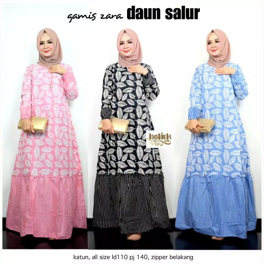 Gamis Zara GURUR Leaves Batik Beautiful Gamis Batik Gamis Bagus Uniform  Party Gamis Syari Cantik Cotton Ba