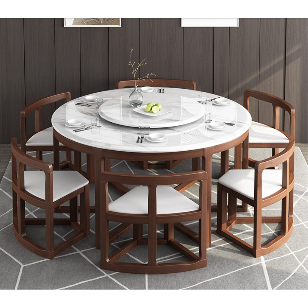 Marble multi functional round table, living room solid wood dining ...