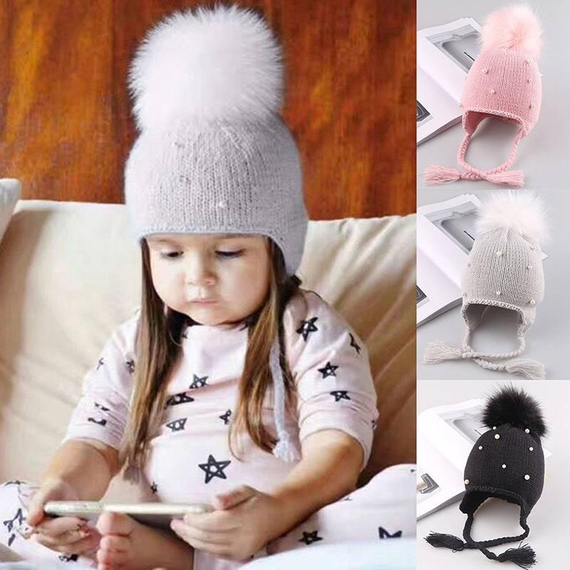 AAA-Baby Kids Animal Ear Winter Knitted Hat Boy Girl Warm Cotton Toddler Hat   5cdba9f5f42b