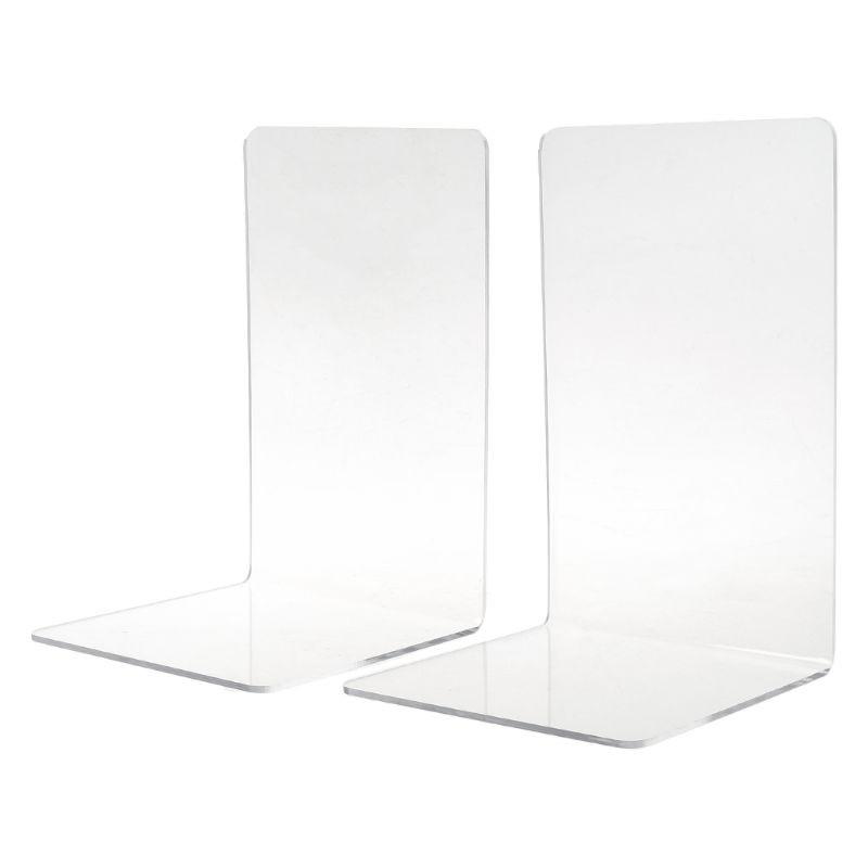 2Pcs//set Acrylic Bookend Organizer Stand Stationery Book Shelf Holder S//M//L