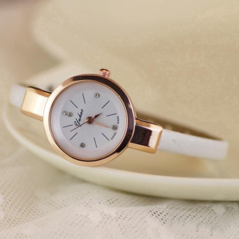 ee96ebed4c5 Women Candy Color Chic Sweet Thin Leather Strap Quartz Bracelet Wrist Watch