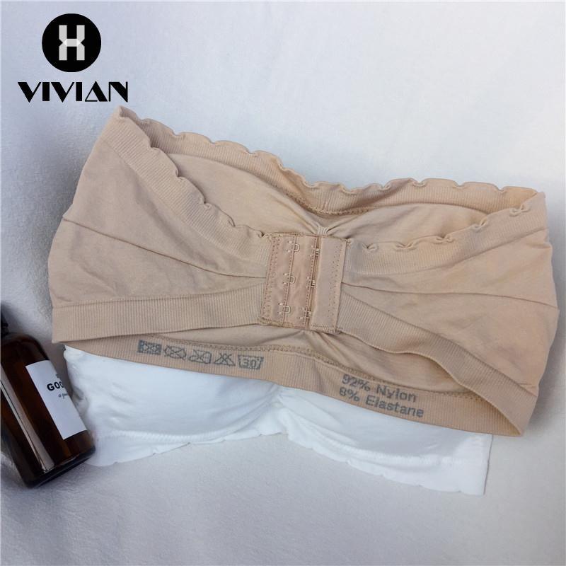 ac0f5721e2  VIVIAN Ready stock Korean Fashion Women LaceNew Summer Korean Leisure Wild  Student Bra Anti-lightless Strapless Solid W