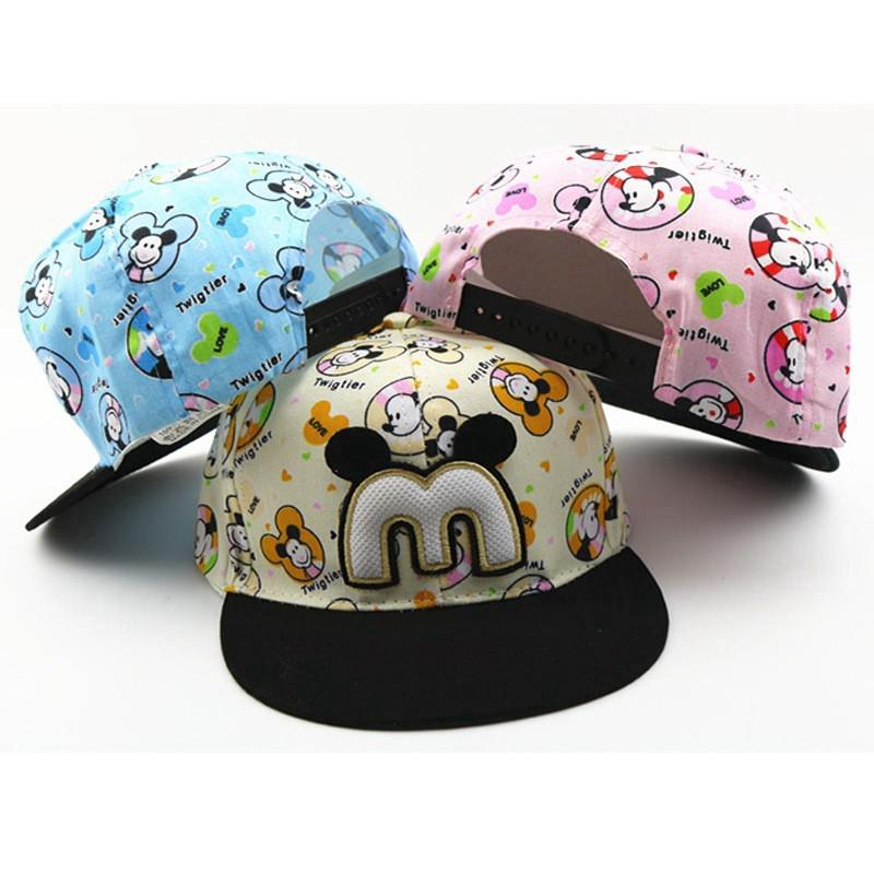 Cartoon Cute Letter Mickey Children Kids Baseball Cap Snapback Caps Hip-Hop  Caps  a851d3d304c8