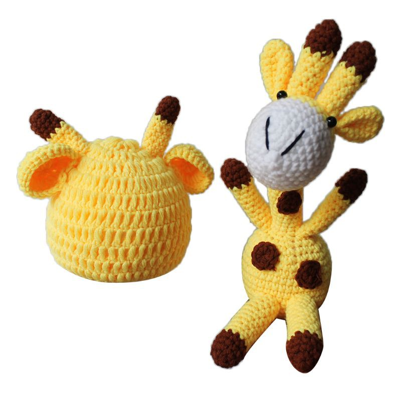 Newborn Baby Photography Prop Knit Cartoon Ears Hat Animal Toy Doll Costume Set