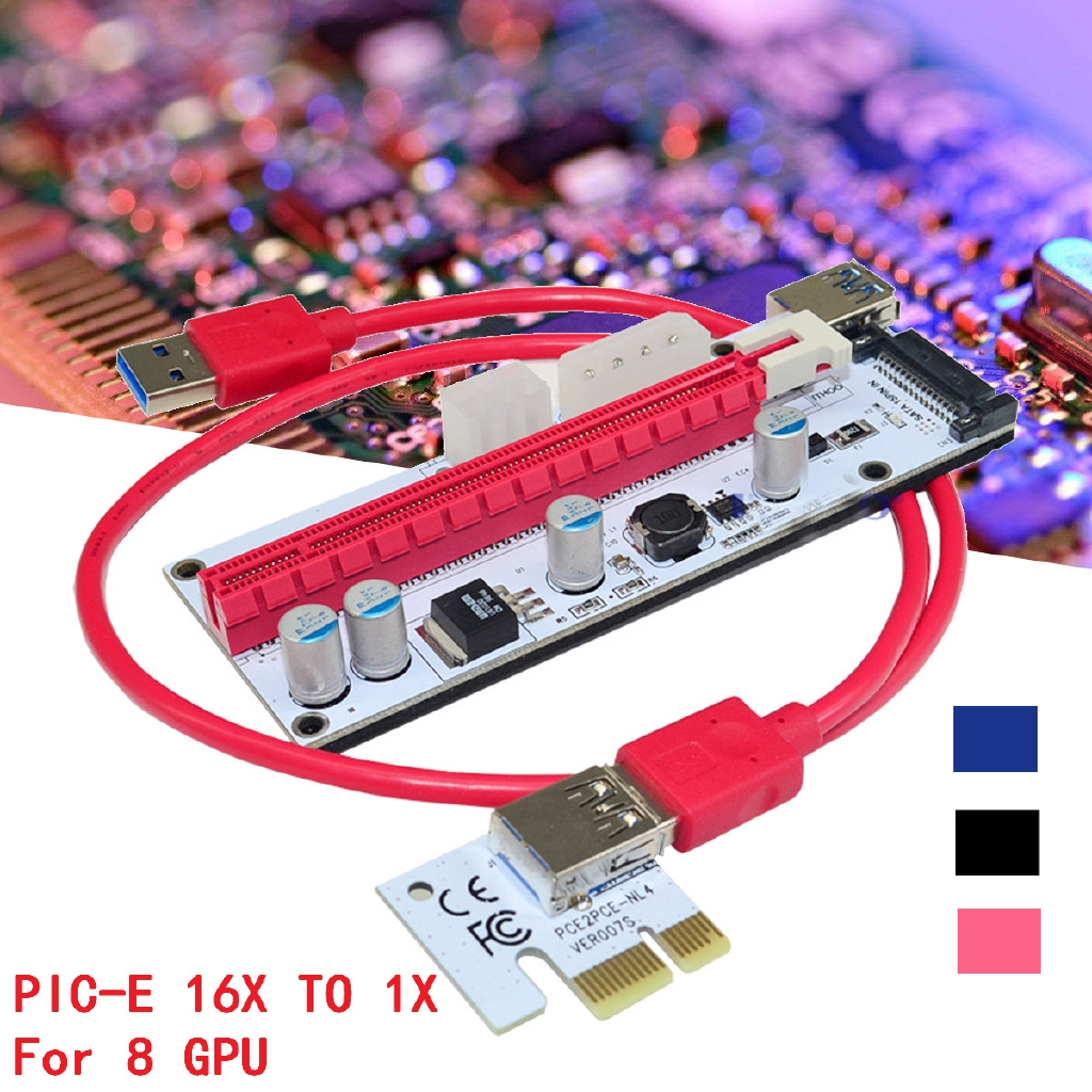 6 PCI-E 16x to 1x USB Extender Riser GPU Adapter Card Mining Power